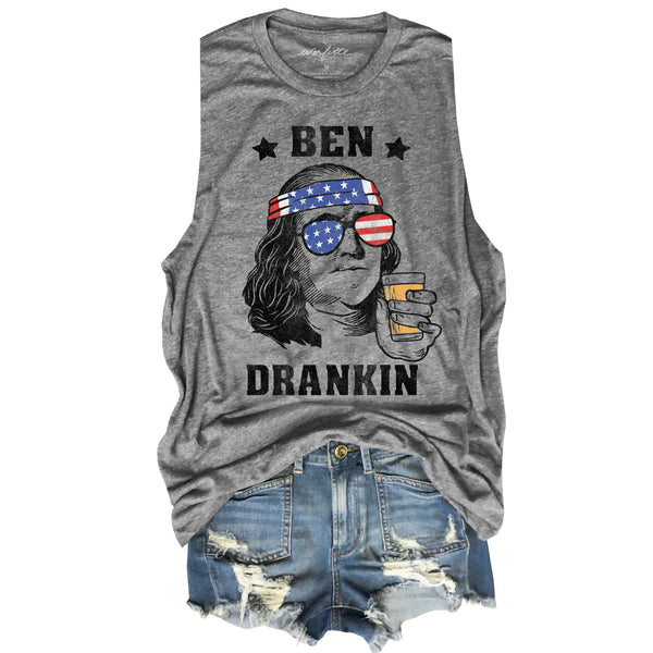 Ben Drankin ... 4th of July Group Heather Grey Unisex Triblend Raw Edge Muscle-Everfitte-[maga]-[usa]-[patriot]-[patriotic tee]-[funny usa shirt]-[4th of July]-[July 4th]-[american flag shirt]-[trump tshirt]-[trump rally shirt]-[tea party shirt]-[funny political shirt]-[biden shirt]-[liberal tshirt]-[republican tshirt]-Everfitte