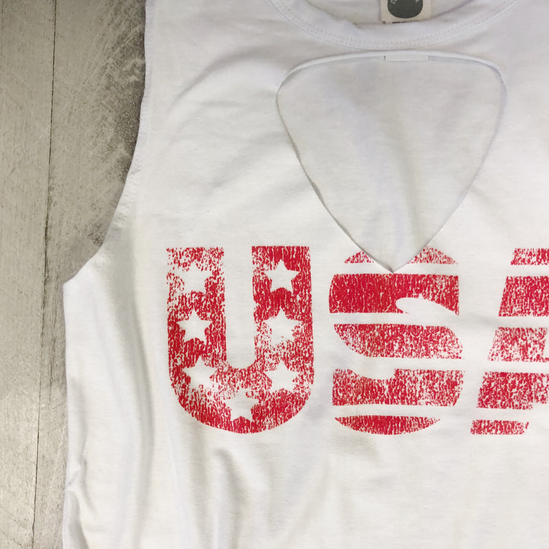 USA ... Laser Cut-Out Muscle Tank-Everfitte-Everfitte