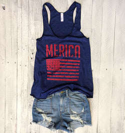 Sale! Merica Flag...Navy Triblend Racerback Tank-Everfitte-[lululemon]-[chaser]-[athleta]-[spirtual gangster]-[champion]-[graphic tee]-[gym shirt]-[workout tee]-[funny shirt]-[funny tee]-[muscle tee]-Everfitte