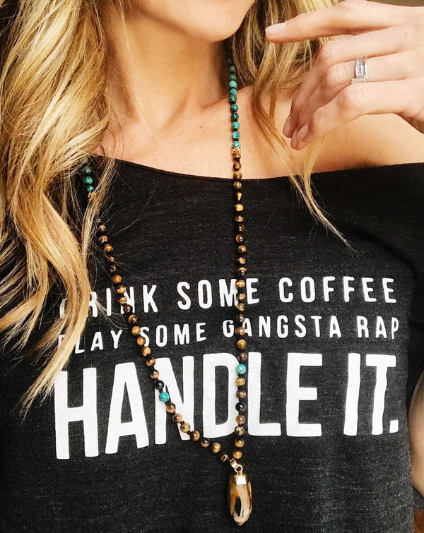 Drink Some Coffee Play Some Gangsta Rap Handle It .. Charcoal One Size Slouchy Raw Neck Tee-Everfitte-[funny family shirt]-[drinking shirts]-[bachelor shirt]-[bachelorette party tees]-[bridal party shirt]-[bridal party tee]-[group drinking tees]-[funny vodka shirt]-[funny tequila tee]-[funny tequila tshirt]-[funny whiskey tshirt]-[funny drinking shirt]-[tequila t-shirt]-[vodka t-shirt]-[whiskey t-shirt]-Everfitte