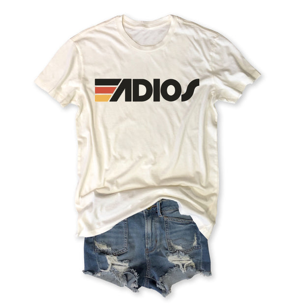 Adios ... Vintage Ivory Distressed Garment Dyed Retro Tee