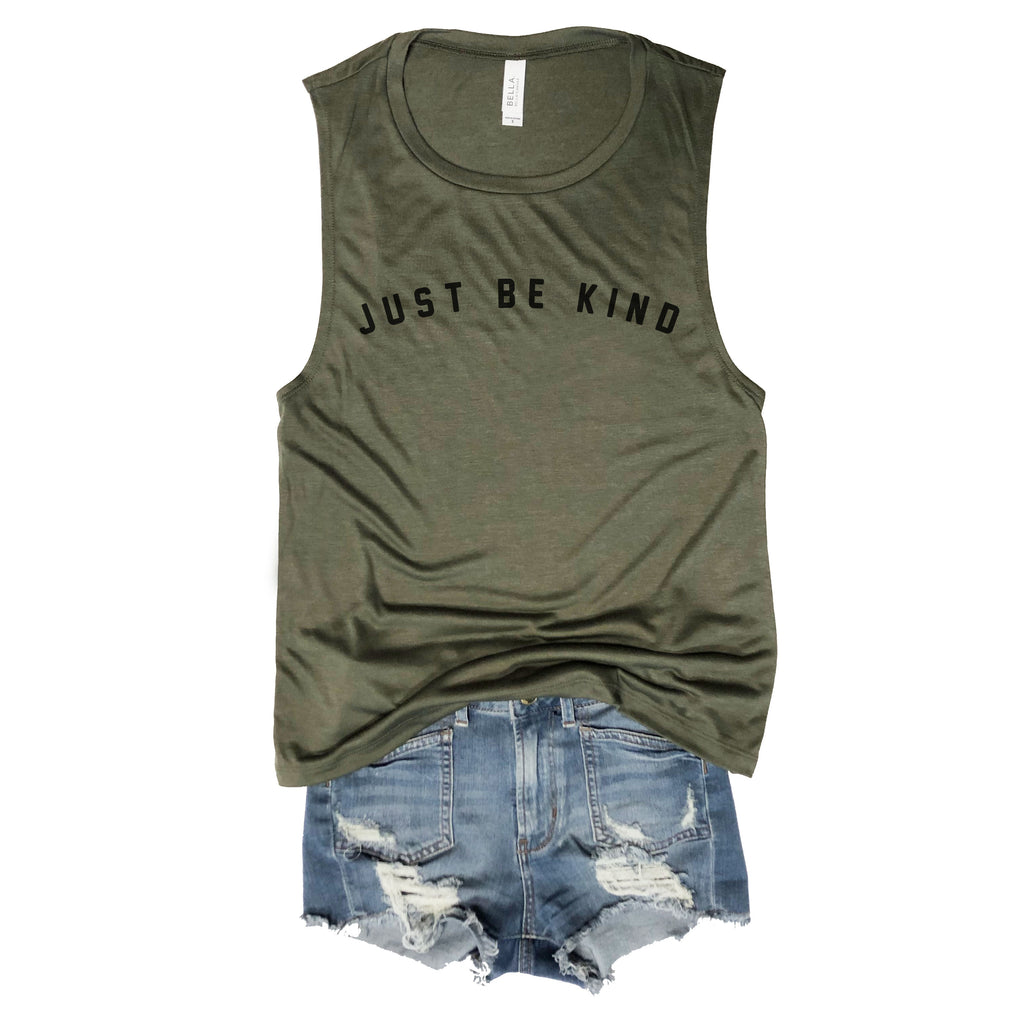 34835a68 SALE! Just Be Kind Army Muscle Tee – Everfitte