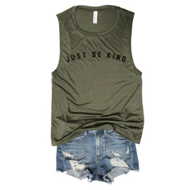 Just Be Kind Army Muscle Tee