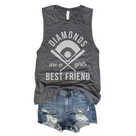 Diamonds Are A Girls Best Friend Asphalt Slub Muscle Tee