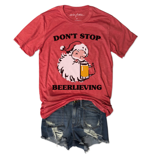 Limited: Don't Stop Beerlieving ... Red Holiday Vintage Red Triblend Unisex Tee