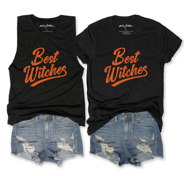 SALE... HALLOWEEN Best Witches ... Funny Triblend Black Muscle Tee & Unisex Tee-Everfitte-[lululemon]-[chaser]-[athleta]-[spirtual gangster]-[champion]-[graphic tee]-[gym shirt]-[workout tee]-[funny shirt]-[funny tee]-[muscle tee]-Everfitte