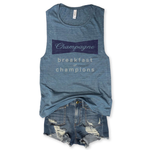 Champagne Breakfast Of Champions Denim Blue Muscle Tee
