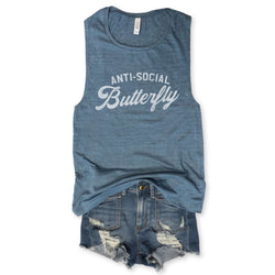 Anti-Social Butterfly Denim Blue Muscle Tee