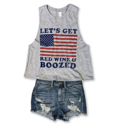 Let's Get Red Wine & Boozed ... Heather Grey Triblend Raw Edge Crop Tank-Everfitte-[maga]-[usa]-[patriot]-[patriotic tee]-[funny usa shirt]-[4th of July]-[July 4th]-[american flag shirt]-[trump tshirt]-[trump rally shirt]-[tea party shirt]-[funny political shirt]-[biden shirt]-[liberal tshirt]-[republican tshirt]-Everfitte