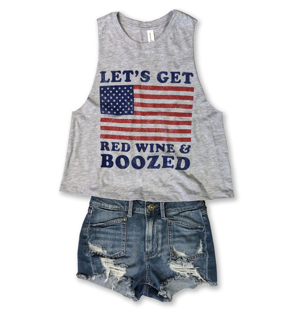 Let's Get Red Wine & Boozed ... Heather Grey Triblend Raw Edge Crop Tank