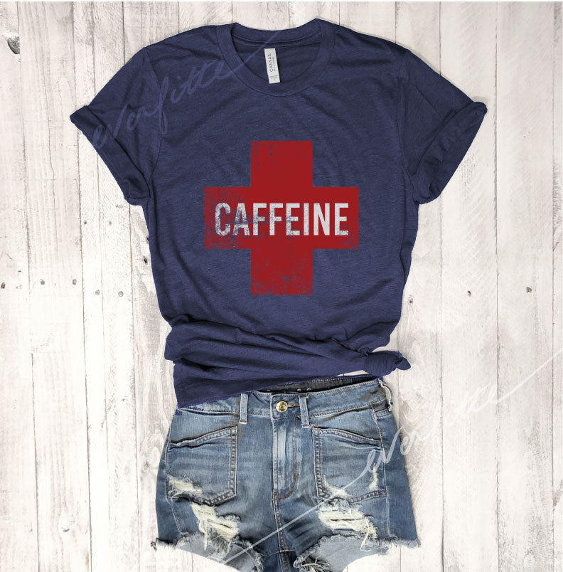 SALE!  Caffeine Cross...Unisex Navy Triblend Tee