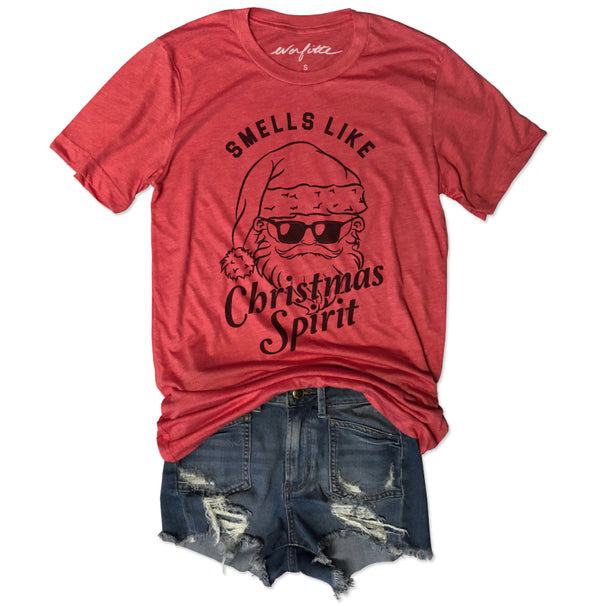 Smells Like Christmas Spirit ... Red Holiday Vintage Red Triblend Unisex Tee