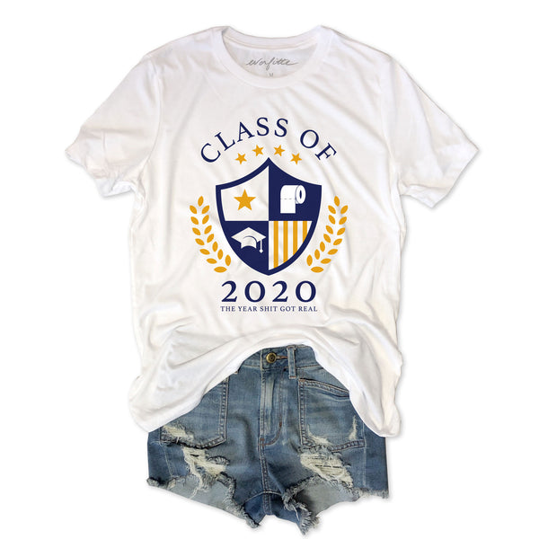 Class of 2020 The Year Shit Got Real ....Funny White Triblend Unisex Tee