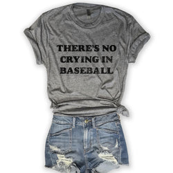 Sale... There's No Crying in Baseball...Grey Unisex Triblend Tee