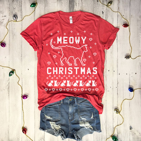 LIMITED: Meowy Christmas...Funny Holiday Vintage Red Triblend Unisex Tee