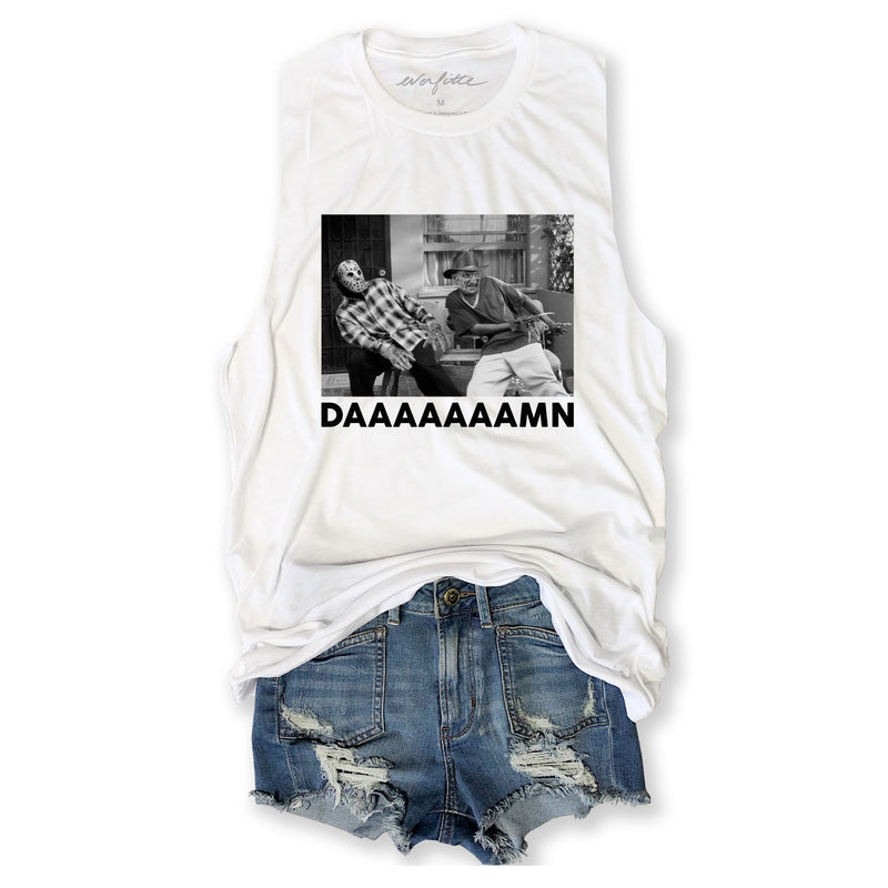 HALLOWEEN Damn ... Funny Unisex Super Soft Triblend Raw Edge Muscle Tee