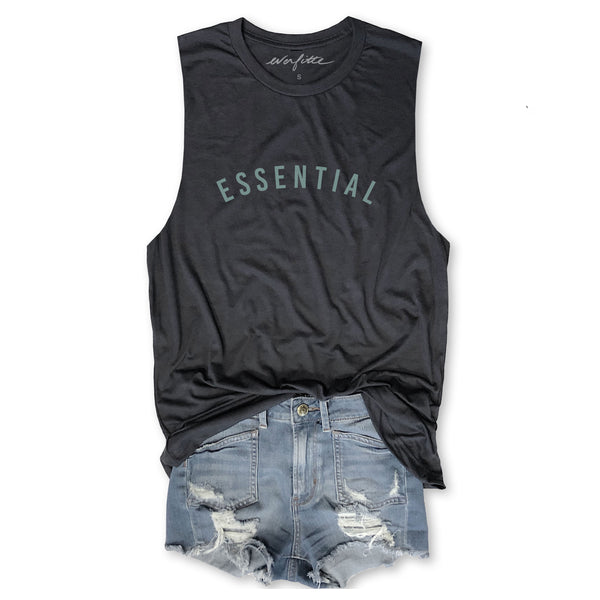 ESSENTIAL ... Funny Unisex Super Soft Triblend Raw Edge Muscle Tee-Everfitte-[drinking shirt]-[alcohol shirt]-[bachelorette party]-[bridal party]-[funny shirt]-[funny tee]-[shirt with words]-[coffee in the shower]-[lululemon]-[chaser]-Everfitte