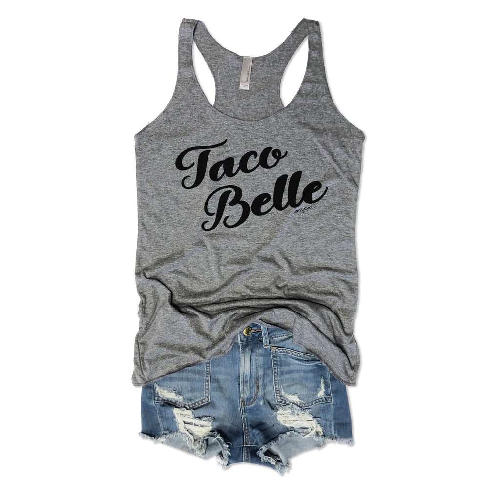 SALE! Taco Belle... Funny Heather Grey Racerback Tank