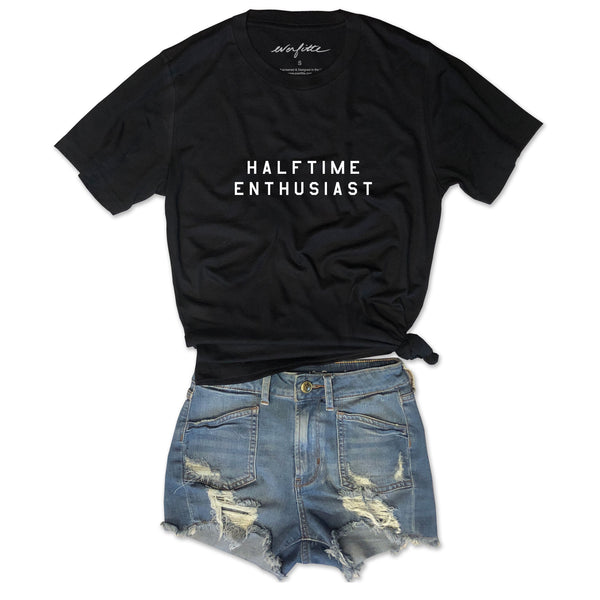 HALFTIME ENTHUSIAST... FOOTBALL Unisex Black Triblend Tee
