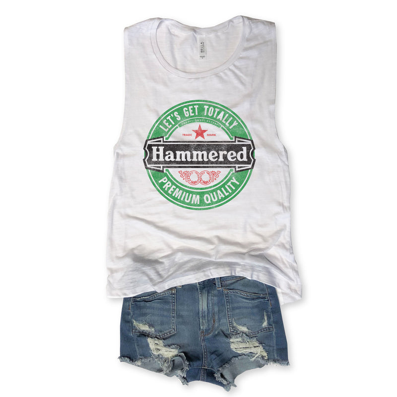 Limited:  Let's Get Totally Hammered...Funny White Slub Muscle Tee