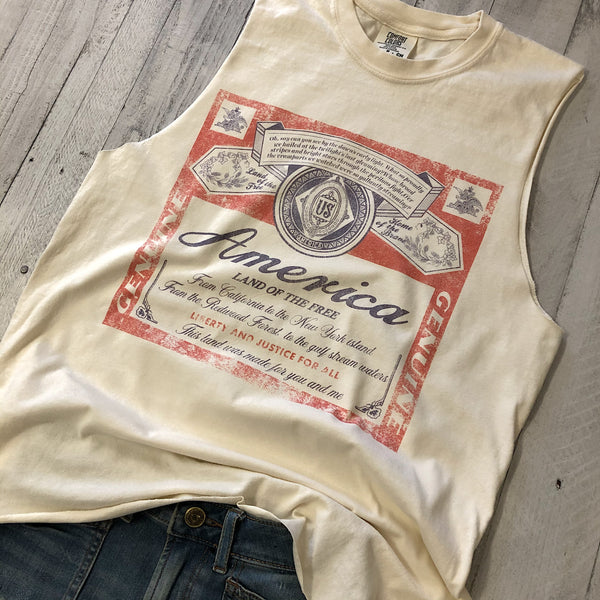 America Beer ... Garment Washed Vintage Ivory Raw Edge Muscle-Everfitte-[maga]-[usa]-[patriot]-[patriotic tee]-[funny usa shirt]-[4th of July]-[July 4th]-[american flag shirt]-[trump tshirt]-[trump rally shirt]-[tea party shirt]-[funny political shirt]-[biden shirt]-[liberal tshirt]-[republican tshirt]-Everfitte