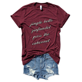 Jingle Bells Zinfandel Pass the Cabernet... Holiday Burgundy Triblend Unisex Tee