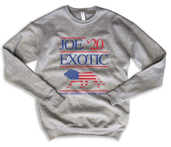 SALE! Joe ExoticFor President  2020 ... Grey Drop Shoulder Crew Neck Sweatshirt