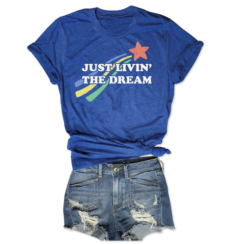 Just Livin' The Dream ... Retro 80s Unisex Royal Blue Triblend Tee