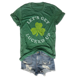 Let's Get Lucked Up ... Funny St. Paddy's Day Green Triblend Unisex Tee-Everfitte-[funny family shirt]-[drinking shirts]-[bachelor shirt]-[bachelorette party tees]-[bridal party shirt]-[bridal party tee]-[group drinking tees]-[funny vodka shirt]-[funny tequila tee]-[funny tequila tshirt]-[funny whiskey tshirt]-[funny drinking shirt]-[tequila t-shirt]-[vodka t-shirt]-[whiskey t-shirt]-Everfitte