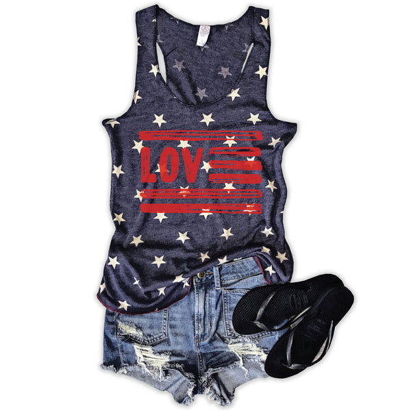 Love USA... Vintage Washed Faded Star Tank