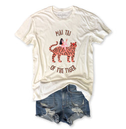 Mai Tai of the Tiger ... Vintage Ivory Distressed Garment Dyed Unisex Tee