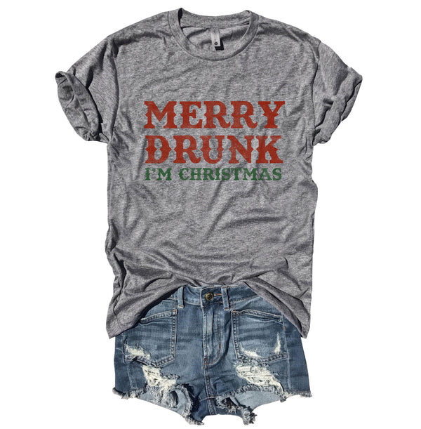 Merry Drunk I'm Christmas...Funny Unisex Heather Grey Triblend Tee-Everfitte-[funny family shirt]-[drinking shirts]-[bachelor shirt]-[bachelorette party tees]-[bridal party shirt]-[bridal party tee]-[group drinking tees]-[funny vodka shirt]-[funny tequila tee]-[funny tequila tshirt]-[funny whiskey tshirt]-[funny drinking shirt]-[tequila t-shirt]-[vodka t-shirt]-[whiskey t-shirt]-Everfitte