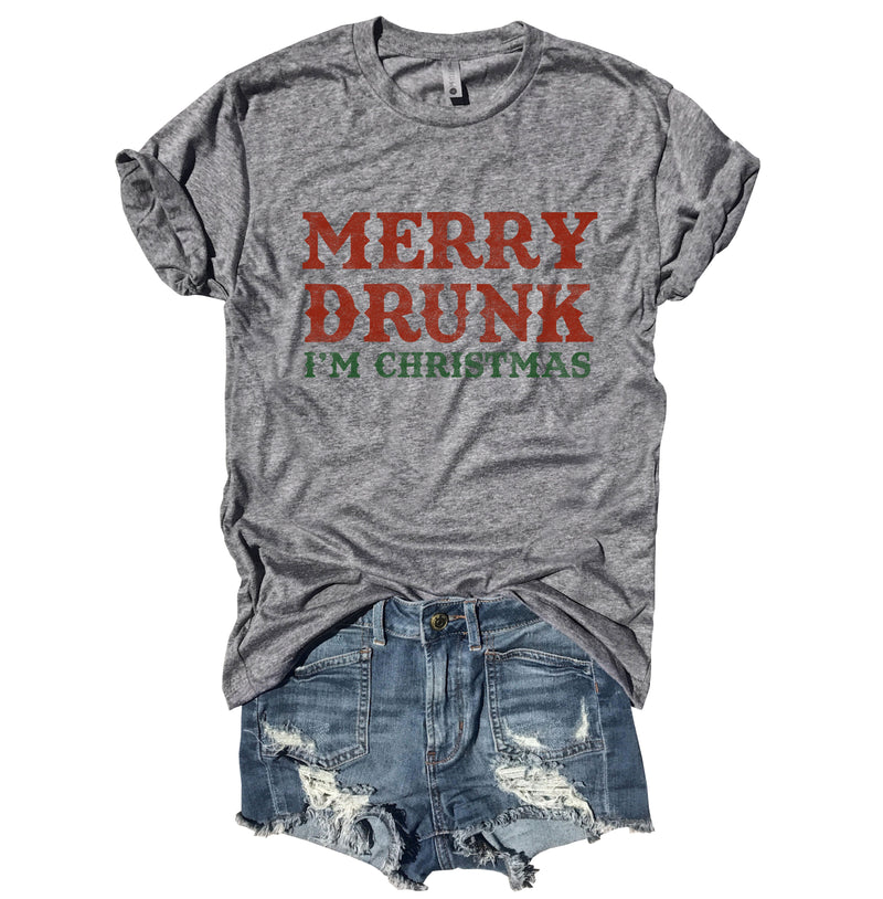 Merry Drunk I'm Christmas...Funny Unisex Heather Grey Triblend Tee-Everfitte-Everfitte