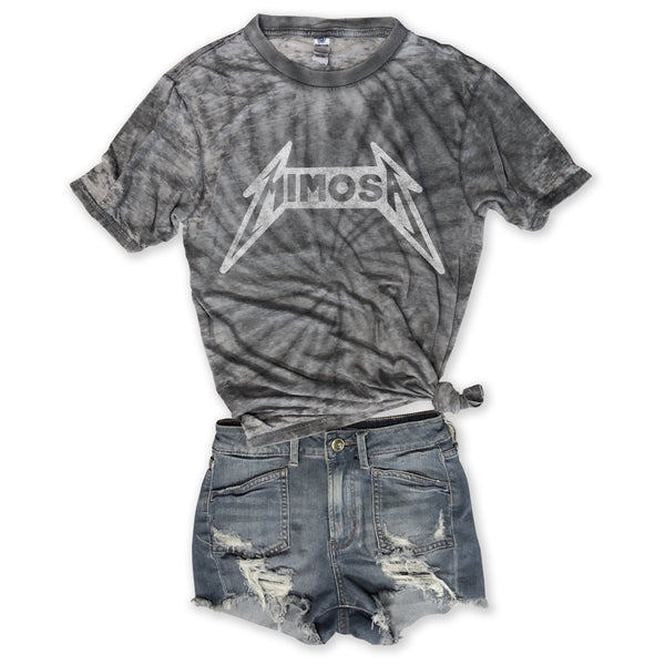 Heavy Metal Mimosa ...Charcoal Burnout Tie Dye Tee-Everfitte-Everfitte