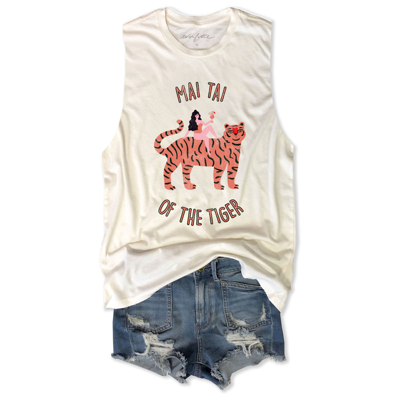 Mai Tai of the Tiger ... Vintage Ivory Distressed Garment Dyed  Unisex Muscle tee