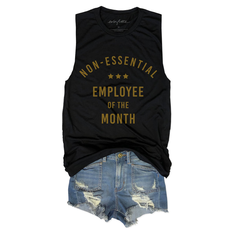 NON-ESSENTIAL Employee of the Month... Funny Unisex Super Soft Triblend Raw Edge Muscle Tee-Everfitte-[drinking shirt]-[alcohol shirt]-[bachelorette party]-[bridal party]-[funny shirt]-[funny tee]-[shirt with words]-[coffee in the shower]-[lululemon]-[chaser]-Everfitte