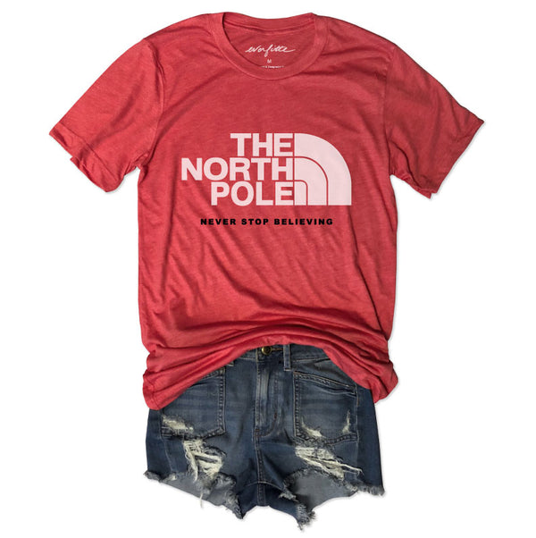 The North Pole  ... Funny Unisex Super Soft Vintage Red Solid Triblend Tee