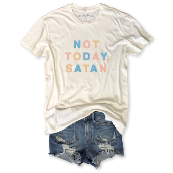PRE-ORDER FOR 8/28 Not Today, Satan ... Vintage Ivory Distressed Garment Dyed Unisex Tee