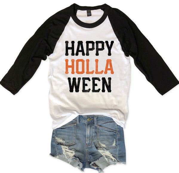 Limited: 🎃HALLOWEEN 🎃 Happy HollaWeen... Unisex Raglan Tee-Everfitte-[halloween]-[halloween graphic tee]-[funny halloween shirt]-[halloween drinking shirt]-[alcohol halloween shirt]-[funny skeleton shirt]-Everfitte