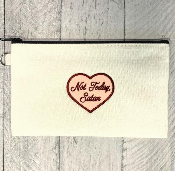 not today satan, not today satan pouch, makeup bag, funny makeup bag, Christian, tote, funny bachelorette party idea,