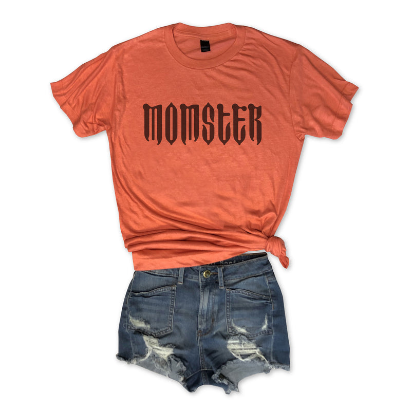 LIMITED: 🎃HALLOWEEN 🎃 Momster...Orange Unisex Triblend Tee-Everfitte-[halloween]-[halloween graphic tee]-[funny halloween shirt]-[halloween drinking shirt]-[alcohol halloween shirt]-[funny skeleton shirt]-Everfitte