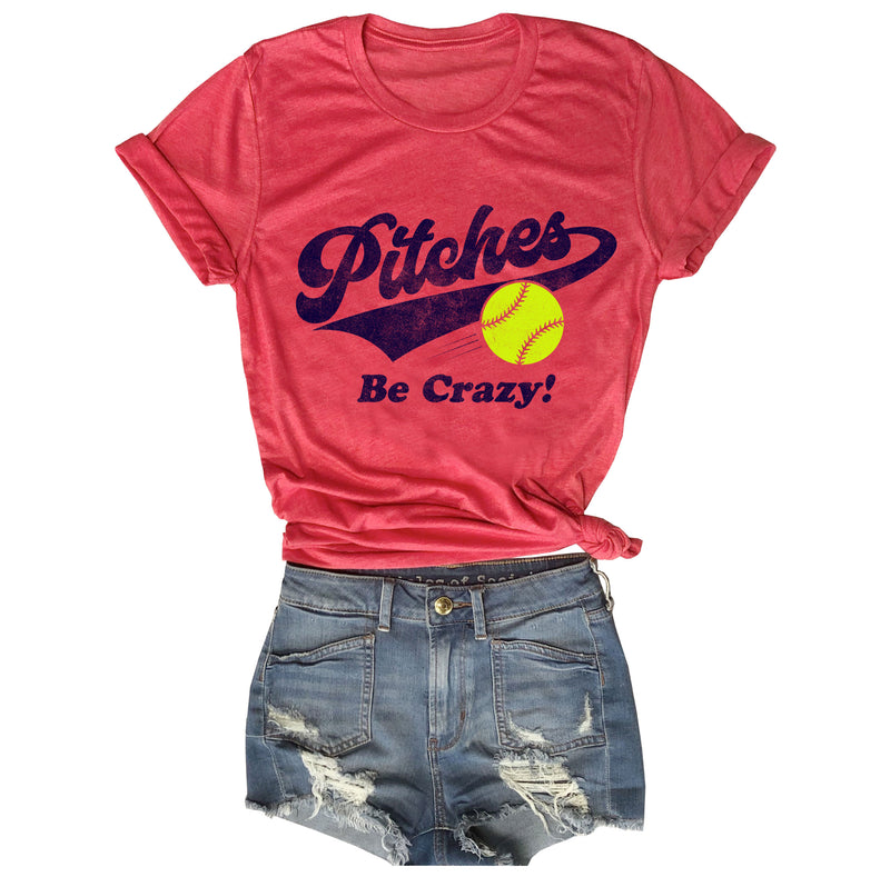 SOFTBALL  Pitches Be Crazy... Vintage Red Funny Unisex Triblend Tee