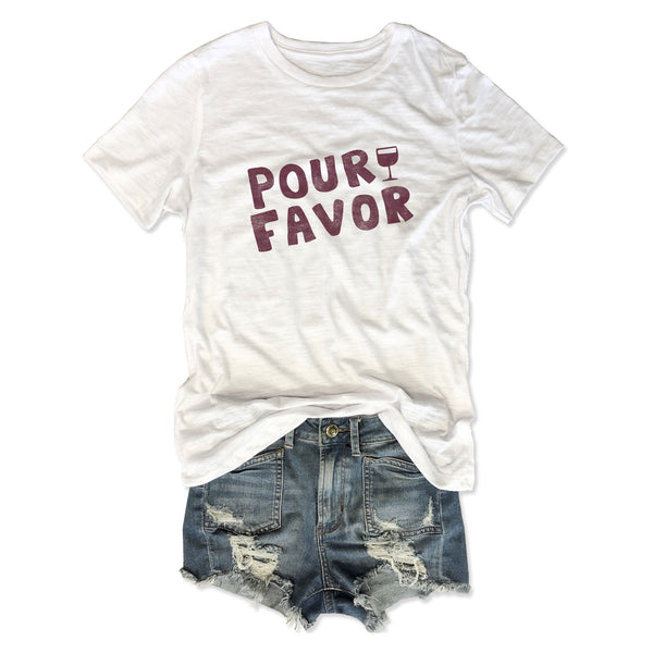 Pour Favor ... Women's White Relaxed Slouchy Basic Tee-Everfitte-[funny family shirt]-[drinking shirts]-[bachelor shirt]-[bachelorette party tees]-[bridal party shirt]-[bridal party tee]-[group drinking tees]-[funny vodka shirt]-[funny tequila tee]-[funny tequila tshirt]-[funny whiskey tshirt]-[funny drinking shirt]-[tequila t-shirt]-[vodka t-shirt]-[whiskey t-shirt]-Everfitte