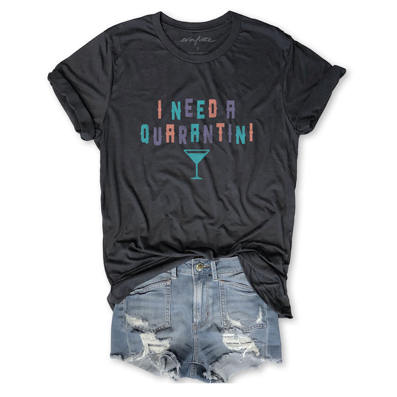 I Need A Quarantini ...Unisex Vintage Dark Grey Triblend Tee-Everfitte-[drinking shirt]-[alcohol shirt]-[bachelorette party]-[bridal party]-[funny shirt]-[funny tee]-[shirt with words]-[coffee in the shower]-[lululemon]-[chaser]-Everfitte
