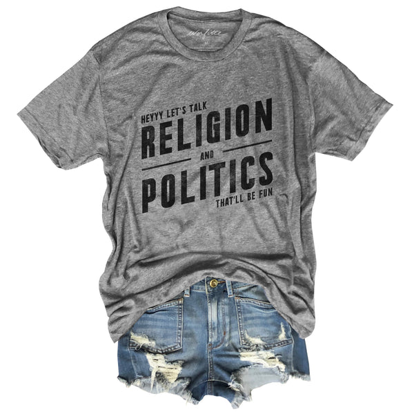 Religion and Politics ... Holiday Heather Grey Unisex Triblend Tee