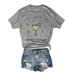 If You're Gonna Be Salty Bring Tequila ... Heather Grey Unisex Triblend Tee-Everfitte-[drinking shirt]-[alcohol shirt]-[bachelorette party]-[bridal party]-[funny shirt]-[funny tee]-[shirt with words]-[coffee in the shower]-[lululemon]-[chaser]-Everfitte