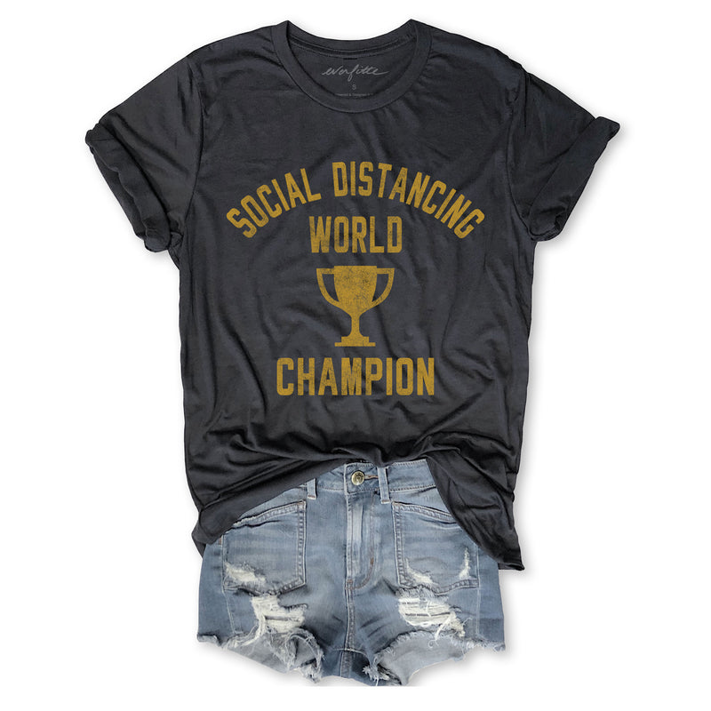 Limited: Social Distancing World Champion ...Unisex Vintage Dark Grey Triblend Tee-Everfitte-[funny family shirt]-[drinking shirts]-[bachelor shirt]-[bachelorette party tees]-[bridal party shirt]-[bridal party tee]-[group drinking tees]-[funny vodka shirt]-[funny tequila tee]-[funny tequila tshirt]-[funny whiskey tshirt]-[funny drinking shirt]-[tequila t-shirt]-[vodka t-shirt]-[whiskey t-shirt]-Everfitte