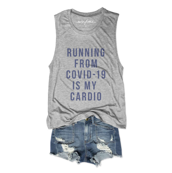 Running From Covid-19 Is My Cardio ... Heather Grey Graphic Muscle Tee