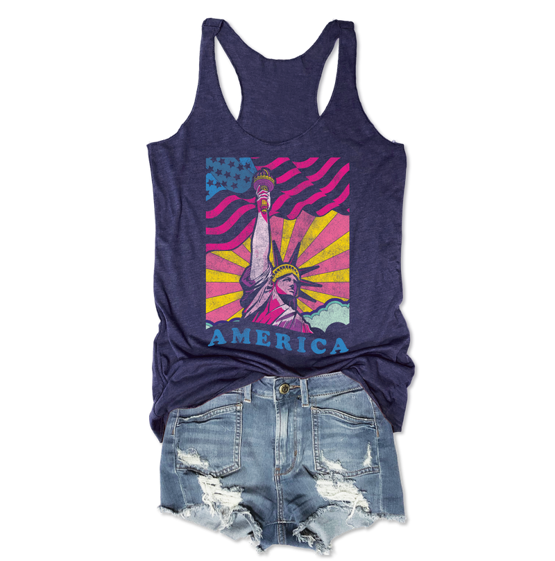 PSYCHEDELIC AMERICA ... Retro Navy Triblend Racerback Tank