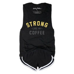 STRONG Like My Coffee ... Funny Triblend Black Muscle Tee-Everfitte-[lululemon]-[chaser]-[athleta]-[spirtual gangster]-[champion]-[graphic tee]-[gym shirt]-[workout tee]-[funny shirt]-[funny tee]-[muscle tee]-Everfitte
